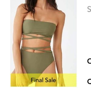 army green strappy swim suit